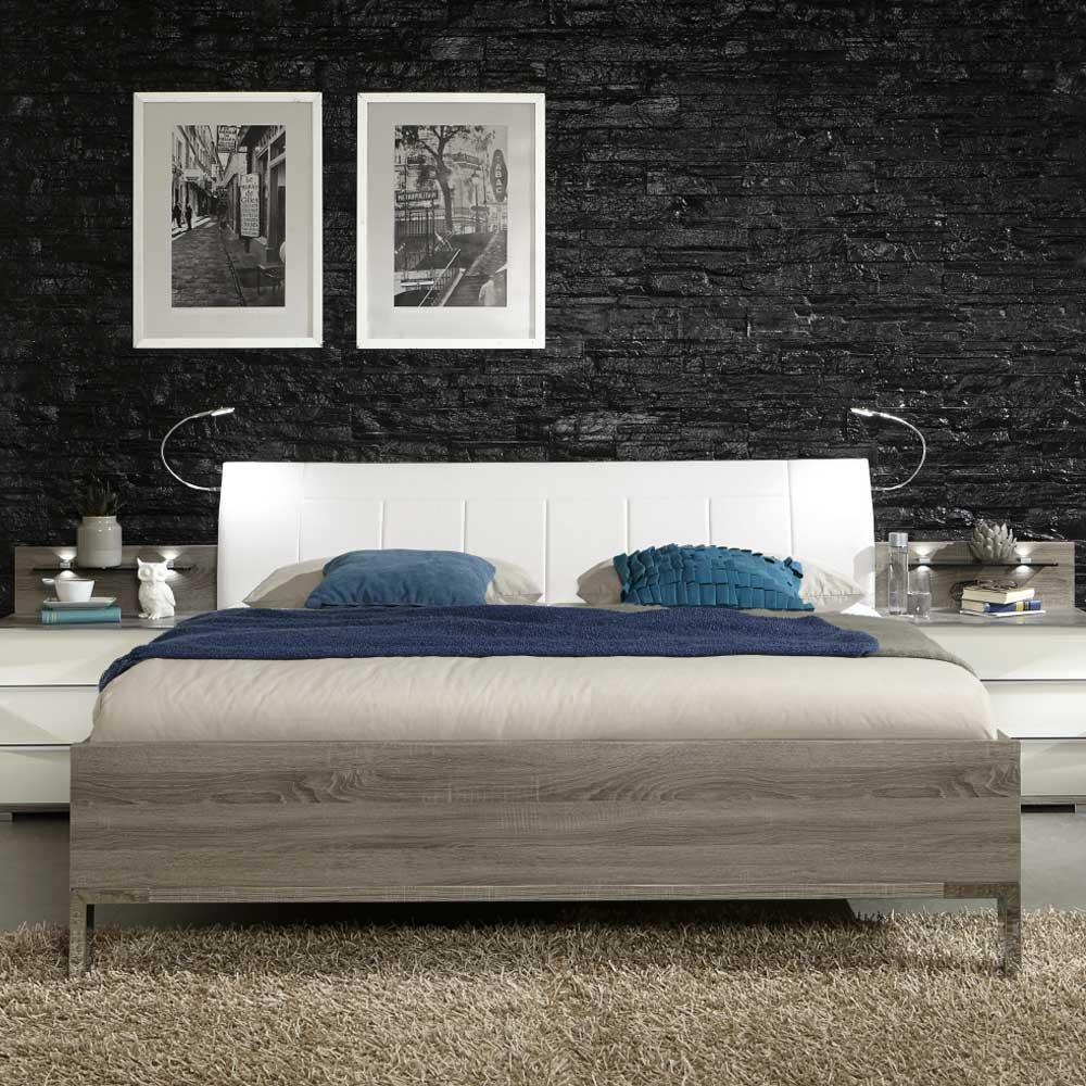 Bett mit Polsterkopfteil in Weiß Beleuchtung