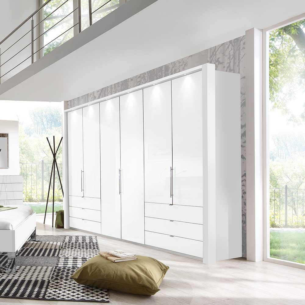 Design Kleiderschrank in Weiß LED Beleuchtung