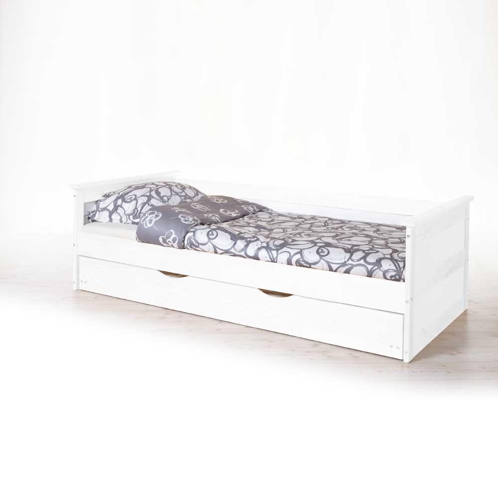 Massivholzbett in Weiß mit Gästebett