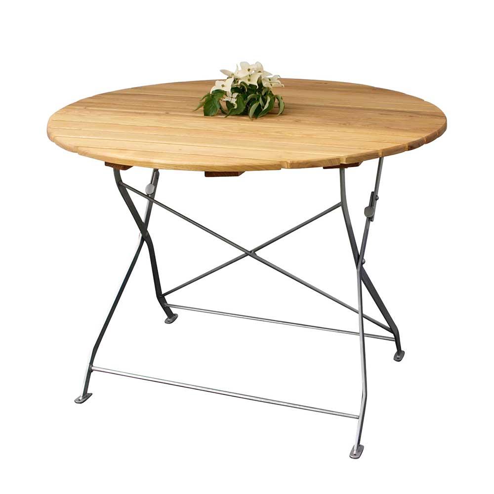Runder Gartentisch aus Robinie massiv klappbar