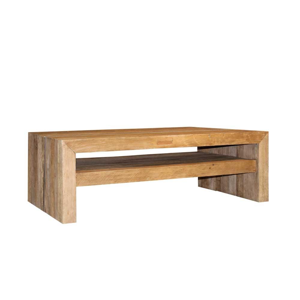 Massivholz Couchtisch aus Teak 140 cm