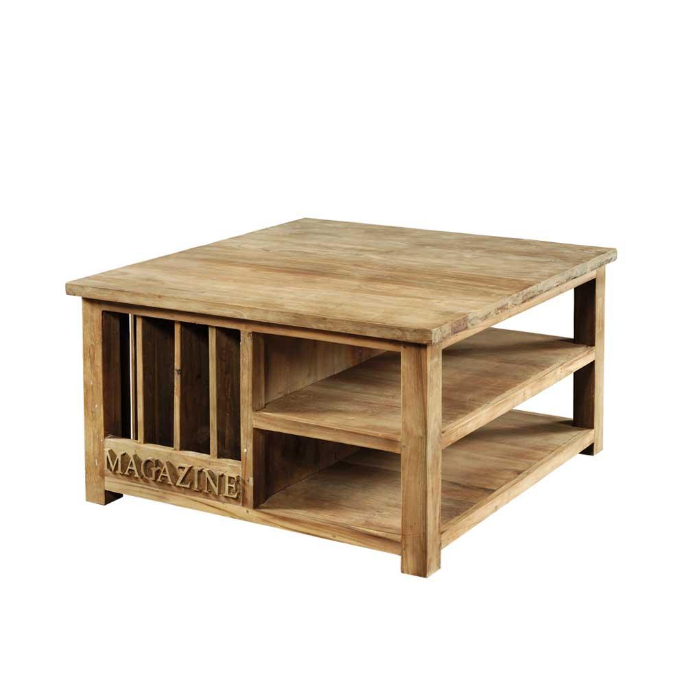 Wohnzimmertisch mit Zeitungständer Teak Altholz | Dekoration > Aufbewahrung und Ordnung > Zeitungsständer | Wooding Nature