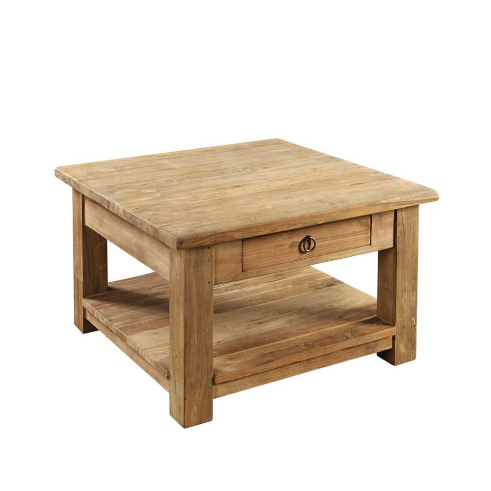 Massivholz Couchtisch aus Teak Massivholz Schublade