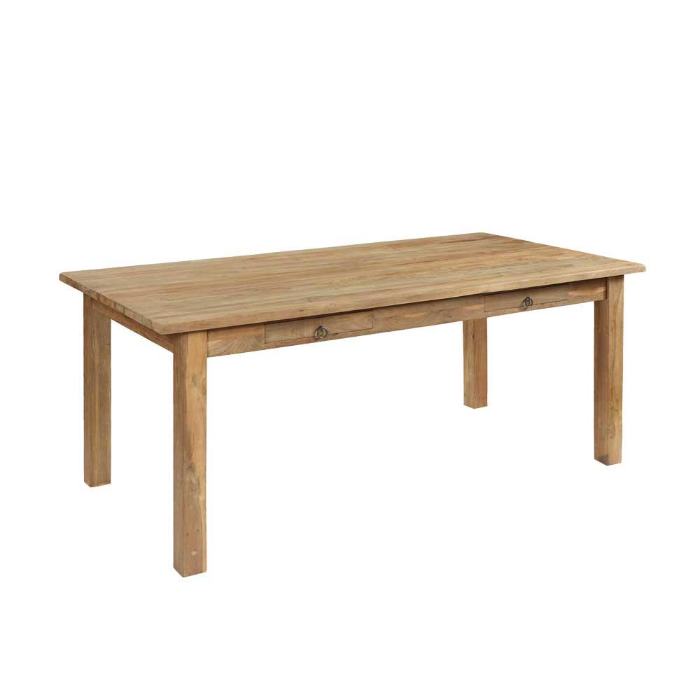Esszimmertisch aus Teak Massivholz Schubladen