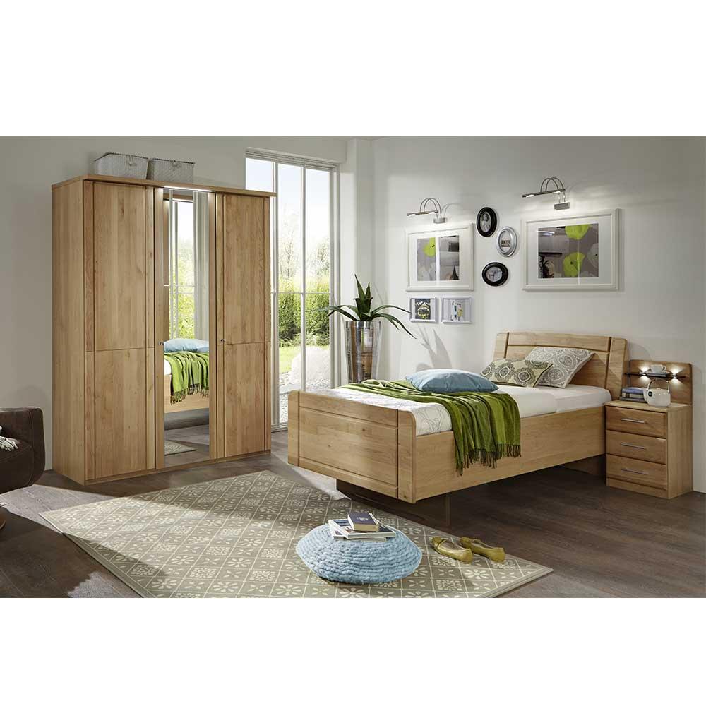 Schlafzimmer Set aus Erle Bett 120x200 (3-teilig)