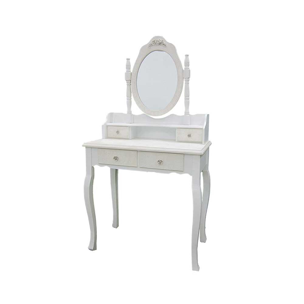 Spiegel Schminktisch in Shabby Chic Weiß | Schlafzimmer > Kommoden > Schminkkommoden & Schminktisch | Weiß | Massivholz | Doncosmo