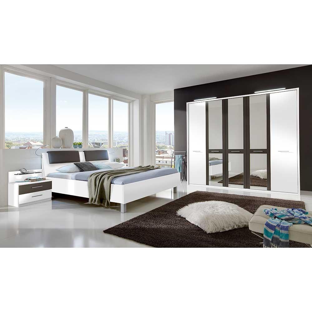 Schlafzimmer Set in Weiß Braun LED Beleuchtung (4-teilig)