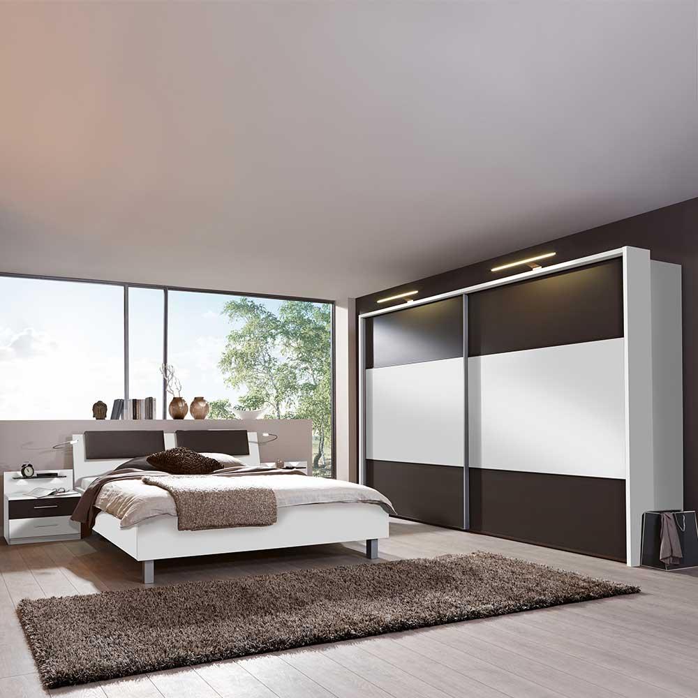 Schlafzimmer Komplettset in Weiß Braun mit LED Beleuchtung (4-teilig)