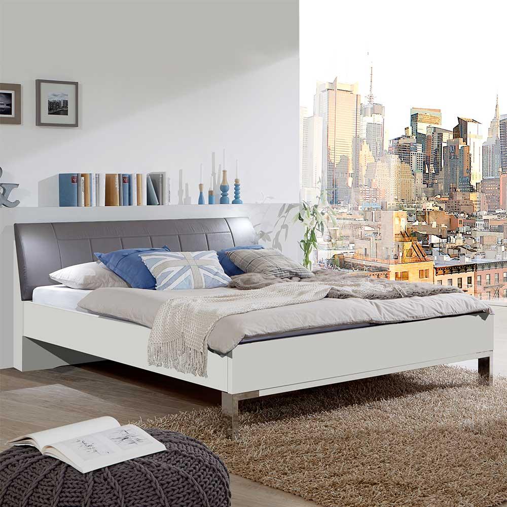 Bett in Polsterkopfteil in Grau Braun LED Beleuchtung