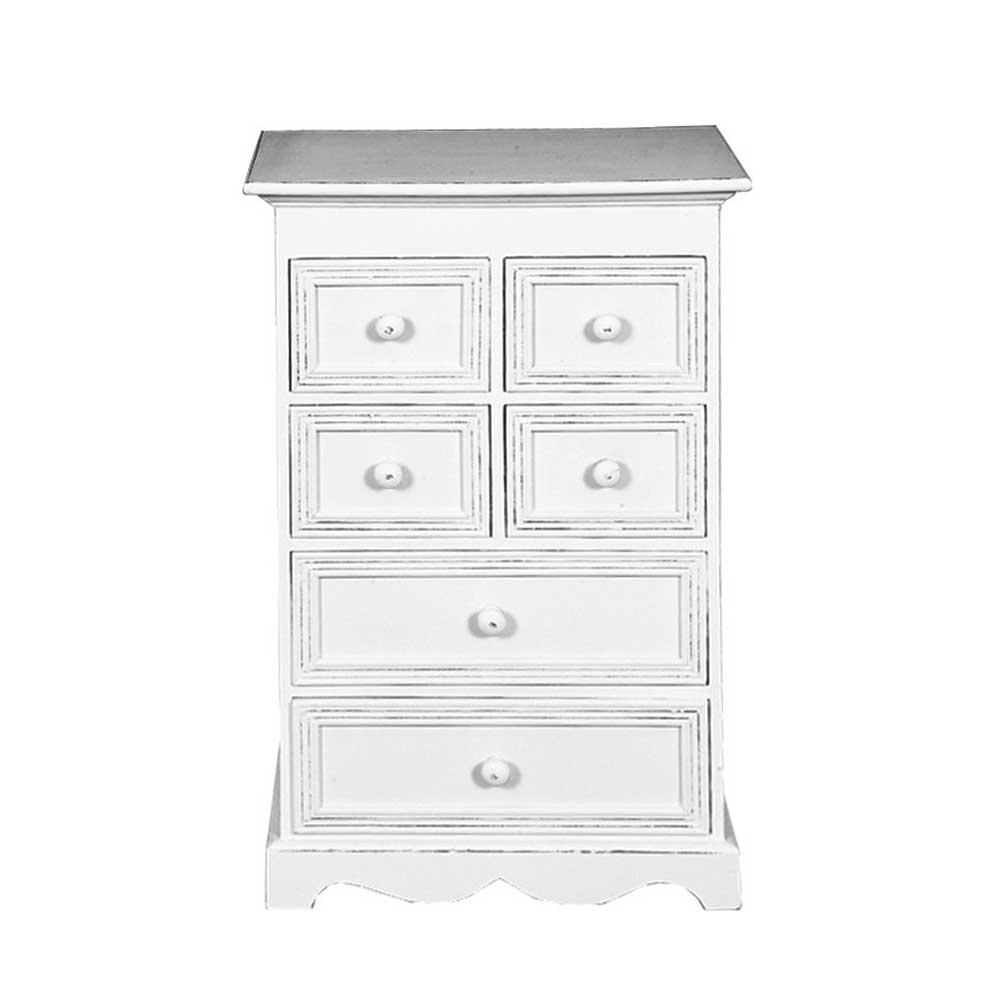 Schubladenkommode in Weiß Shabby Chic Style | Schlafzimmer > Kommoden > Wäschekommoden | Doncosmo