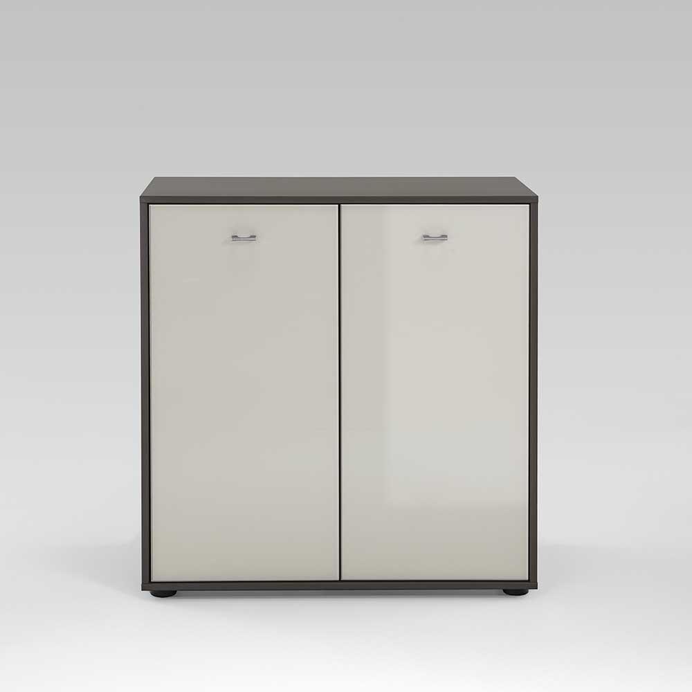 Garderobe Kommode in Creme Grau Braun