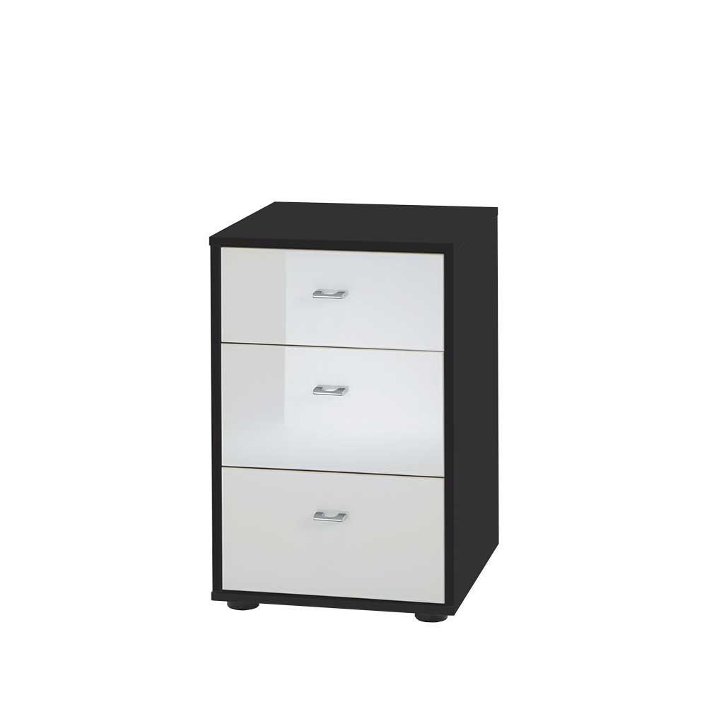 Kleine Kommode in Schwarz Weiß Glas beschichtet (2er Set)   Wohnzimmer > Schränke > Kommoden   Weiß   Holzwerkstoff   Franco Möbel