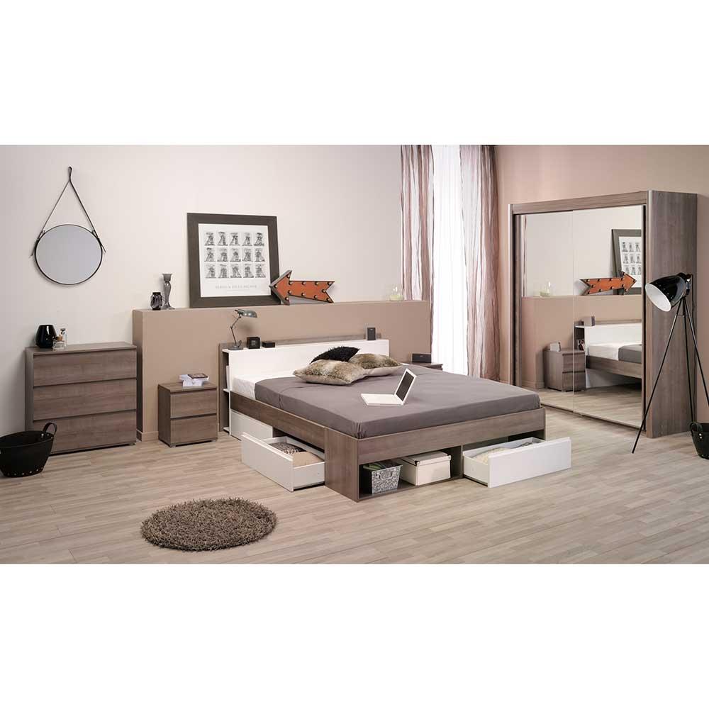 Schlafzimmer Komplettset in Eiche Silber Weiß (5-teilig)