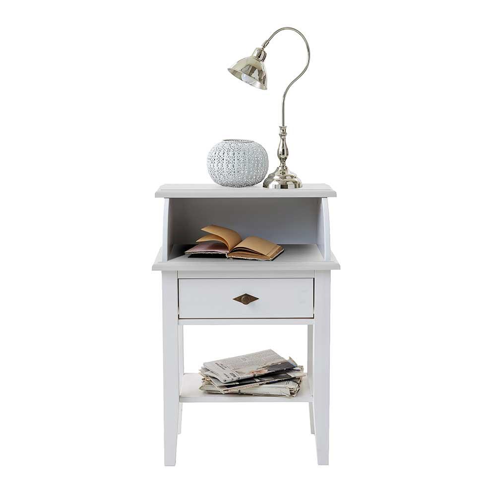 Kiefer Telefontisch in Weiß Landhausstil   Flur & Diele > Telefontische   Weiß   Massivholz   Life Meubles