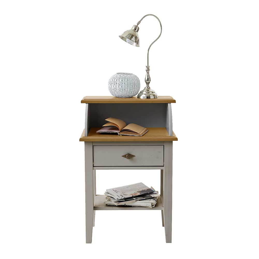 Telefontisch in Grau Kiefer Massivholz | Flur & Diele > Telefontische | Grau | Massivholz | Life Meubles