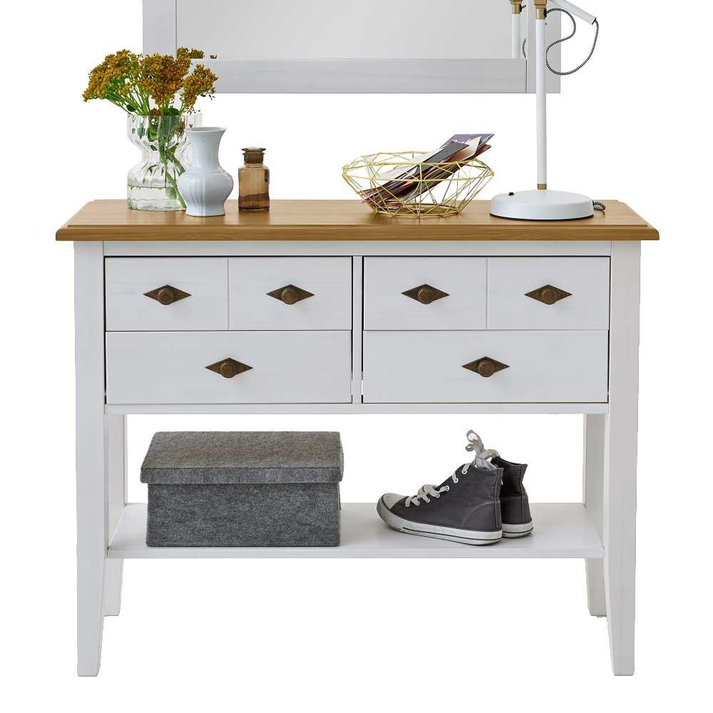 Landhaus Kommoden Tisch in Weiß Kiefer teilmassiv
