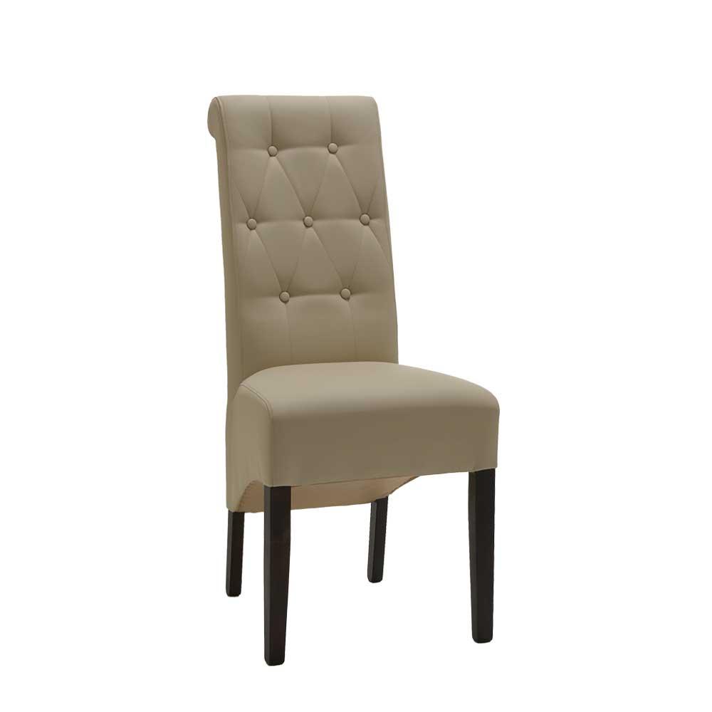 Verzauberkunst Polster Esszimmerstühle Foto Von Esszimmerstuhl In Creme Knopfsteppung (2er Set)