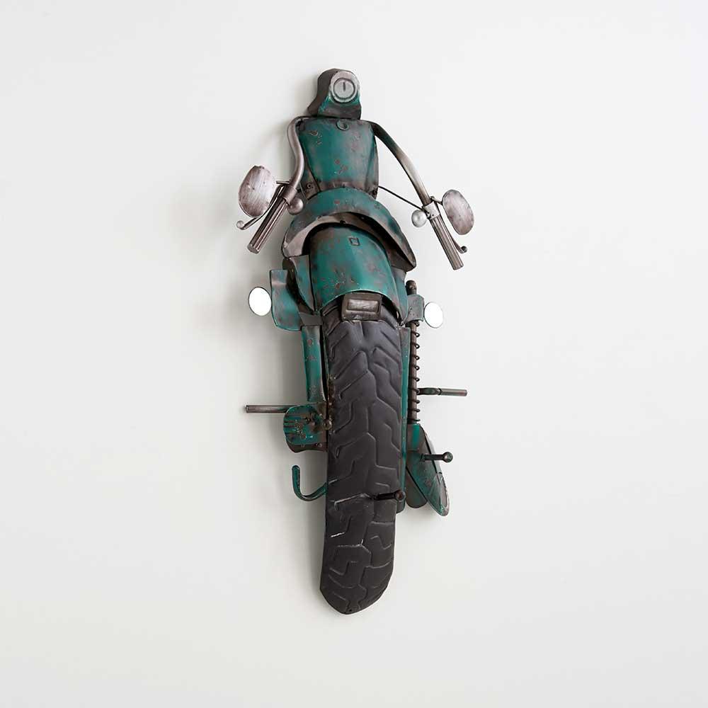 Wandgarderobe als Motorrad Grün Schwarz