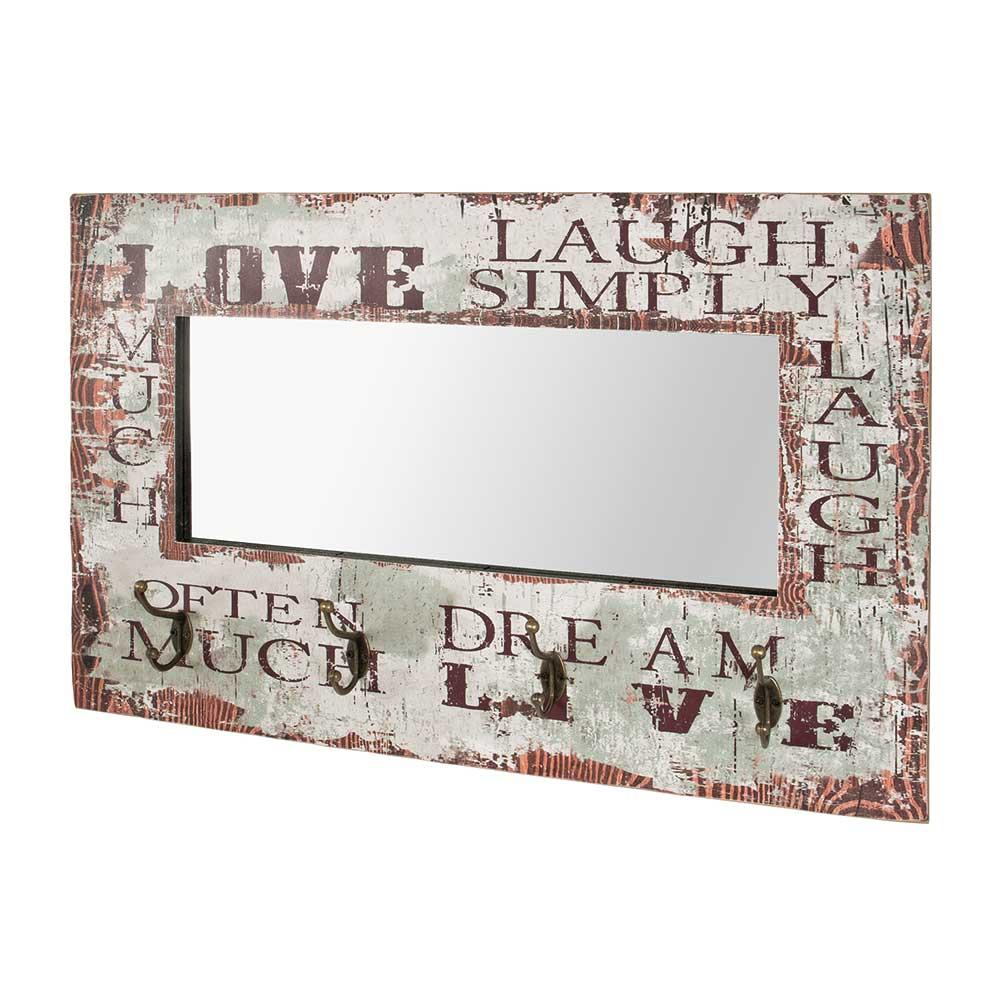 Garderobe mit Spiegel Schriftzug | Flur & Diele > Spiegel > Garderobenspiegel | Braun | Holzwerkstoff | Tollhaus