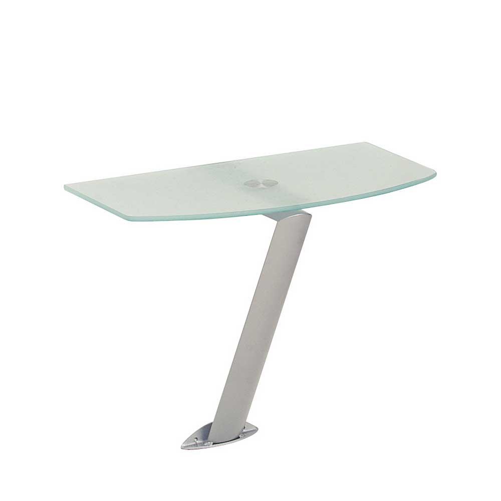 Wandkonsole mit Milchglasplatte Stahl | Wohnzimmer > Regale > Hängeregale | Tollhaus