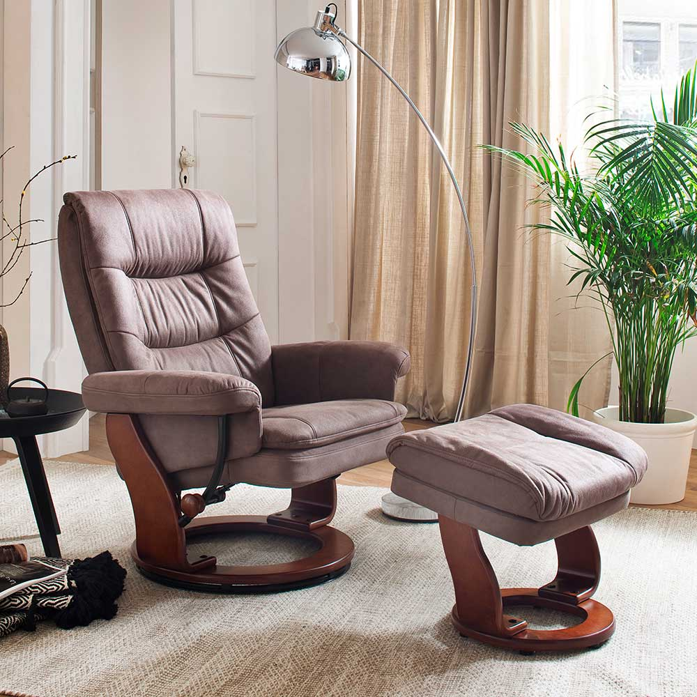 TV Relaxsessel in Taupe Stoff mit Hocker (2-teilig)