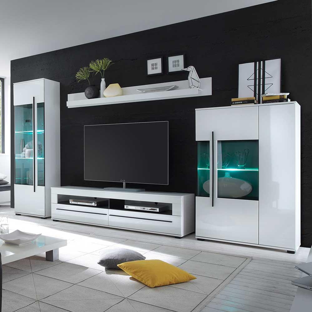 Wohnzimmer Anbauwand in Weiß Hochglanz LED Beleuchtung (4 teilig)