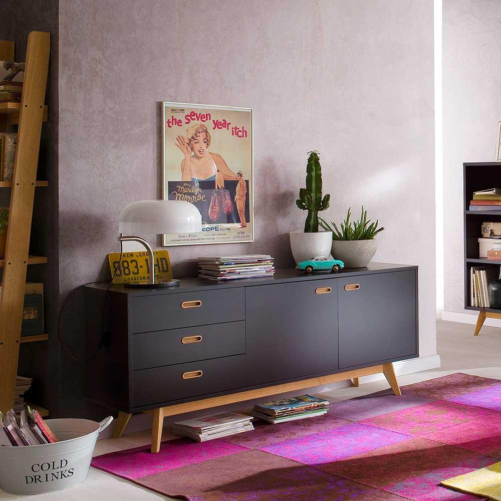Design Sideboard in Schwarz Eiche 170 cm