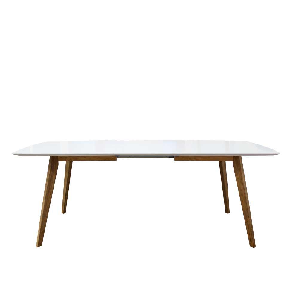 Design Esstisch in Weiß Eiche ausziehbar