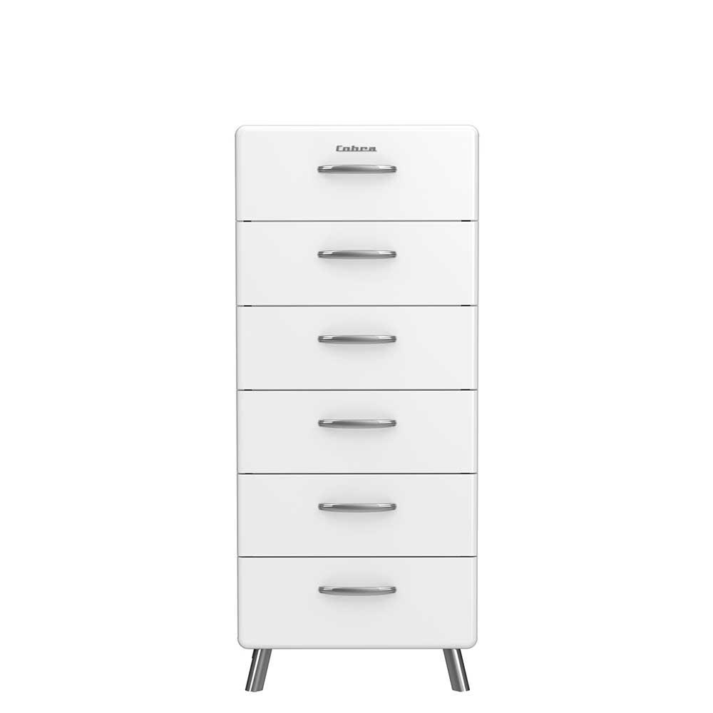 Design Kommode mit 6 Schubladen Weiß lackiert