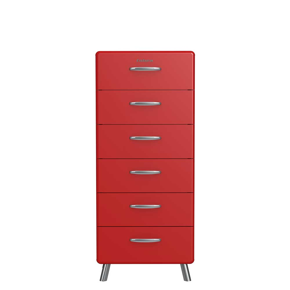 Retro Kommode in Rot lackiert Schubladen
