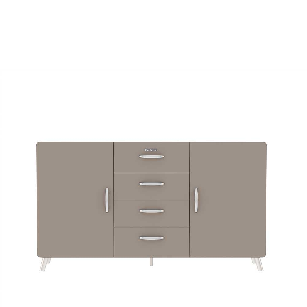 Sideboard in Grau lackiert Retro Style