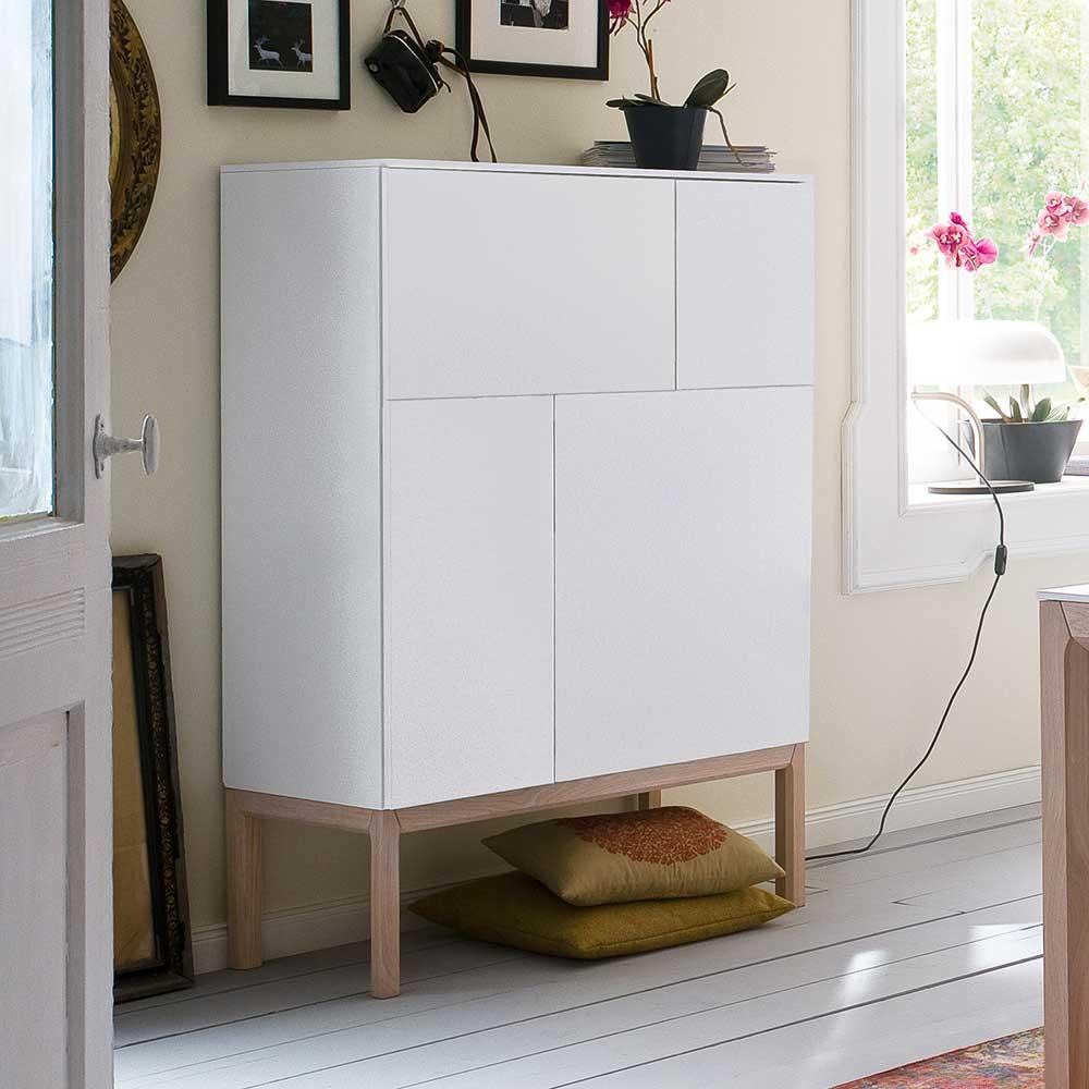Wohnzimmer Highboard in Weiß Eiche 90 cm breit