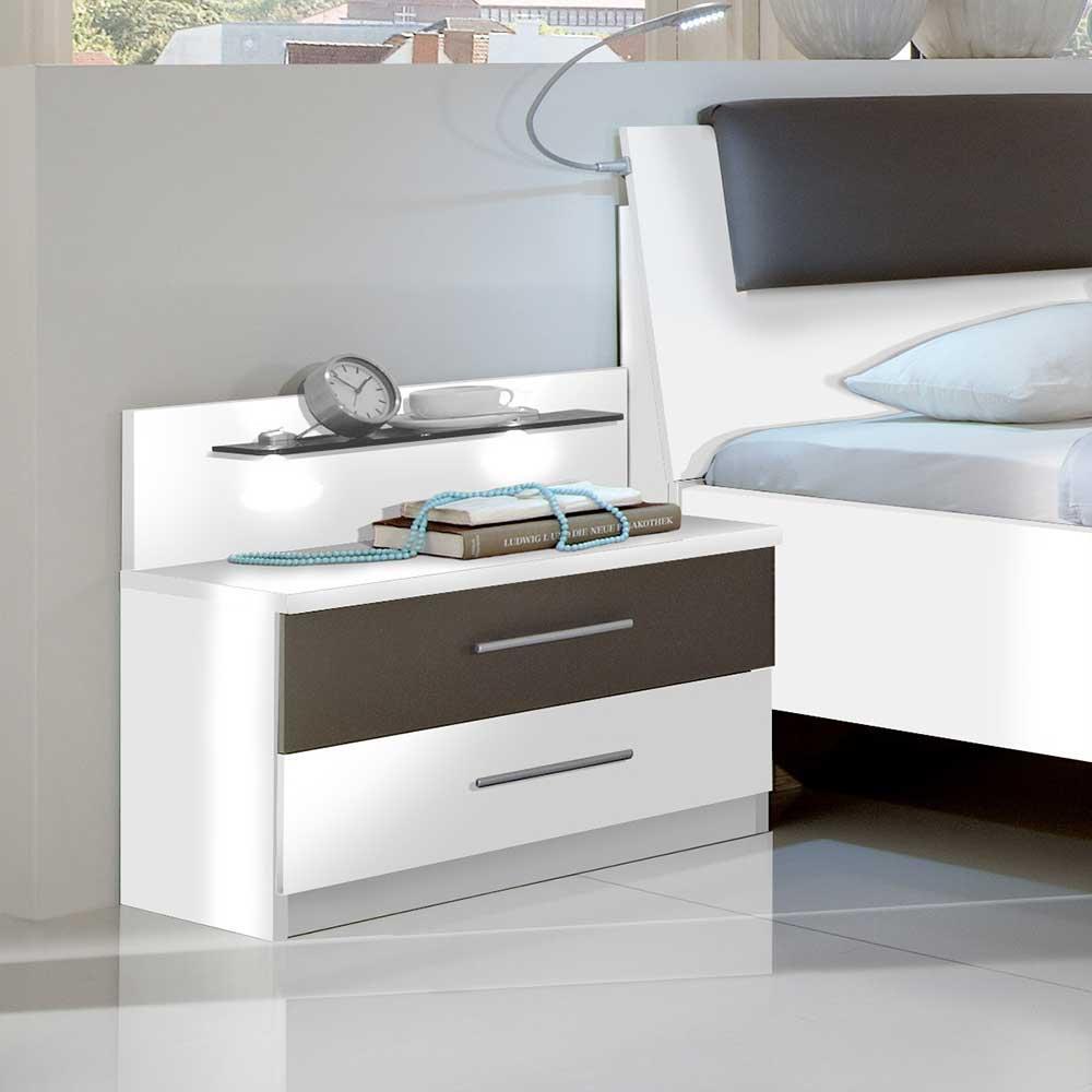 Design Nachtkonsole in Weiß Grau Braun LED Beleuchtung