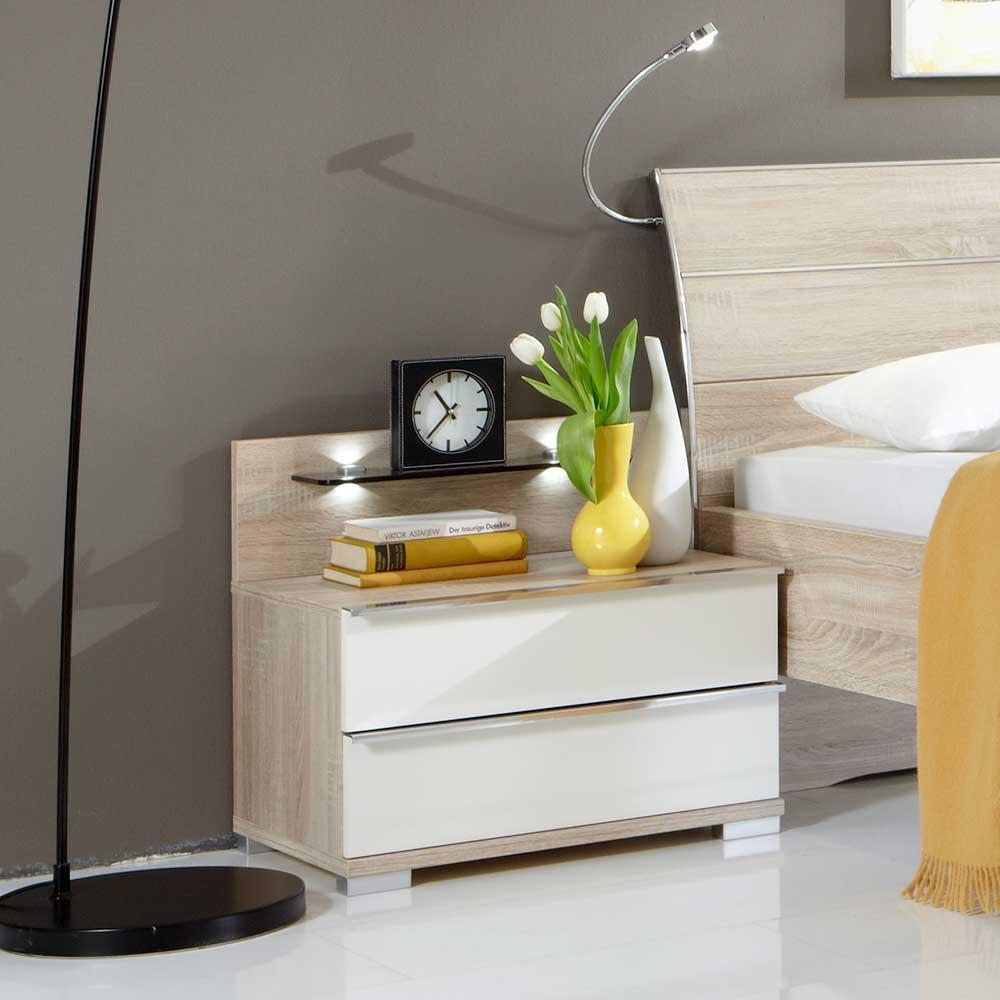 Nachttisch in Eiche Sägerau Weiß LED Beleuchtung (2-teilig)