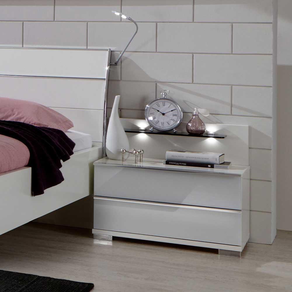 Nachttisch Konsole in Weiß LED Beleuchtung (2-teilig)