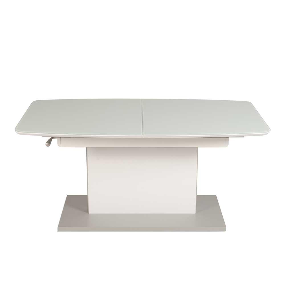 Höhenverstellbarer Couchtisch in Weiß ausziehbar