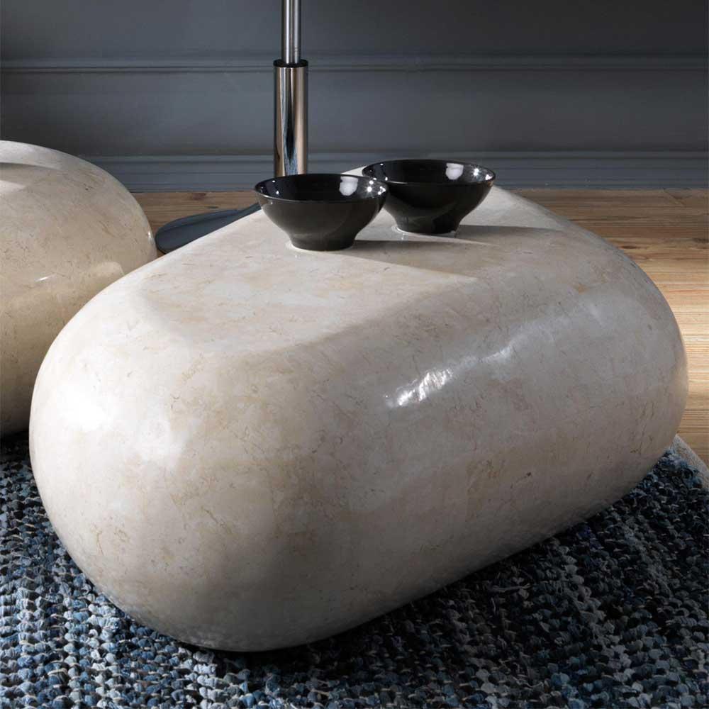 Wohnzimmer Couchtisch aus Stein Creme