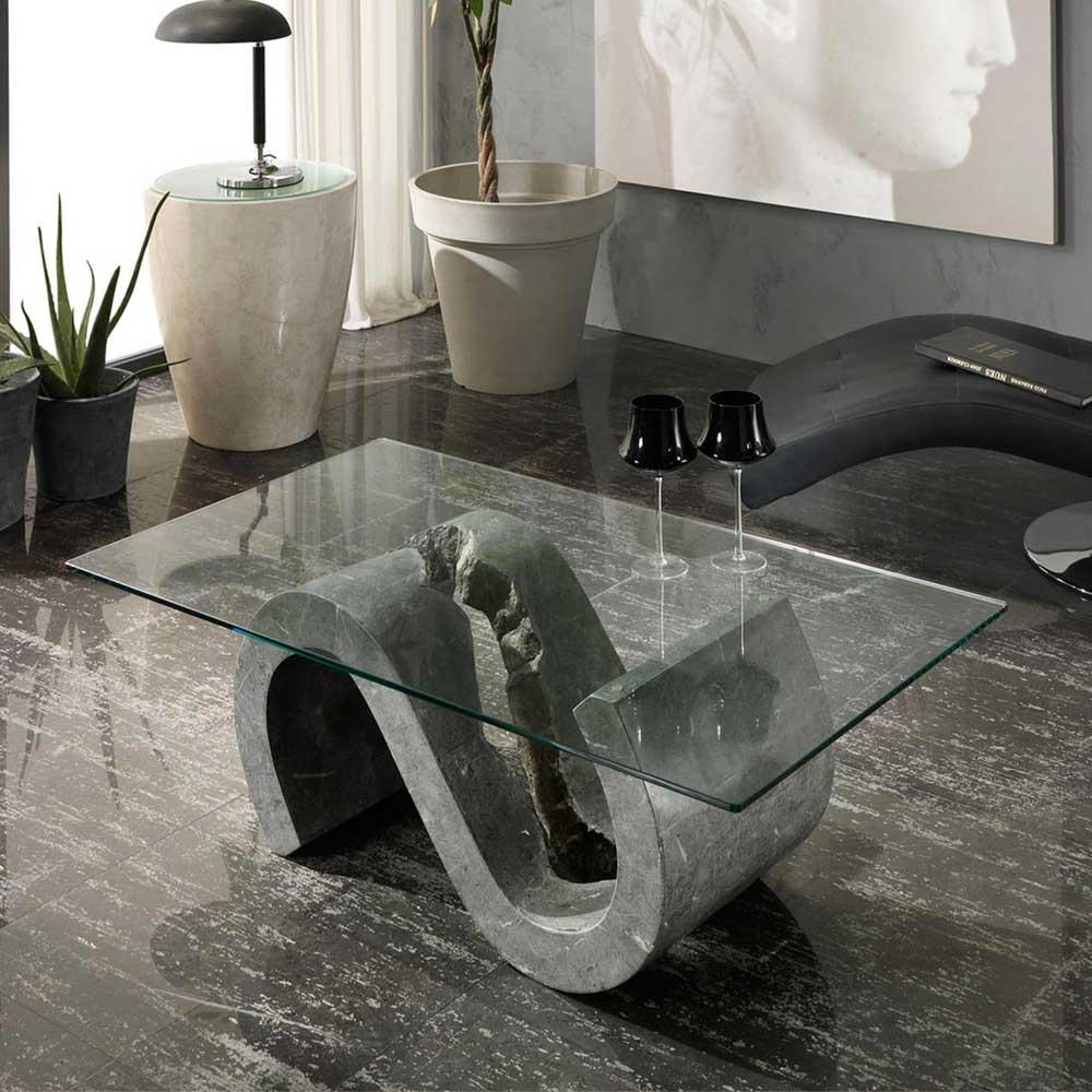 Design Couchtisch aus Stein und Glas S-förmig