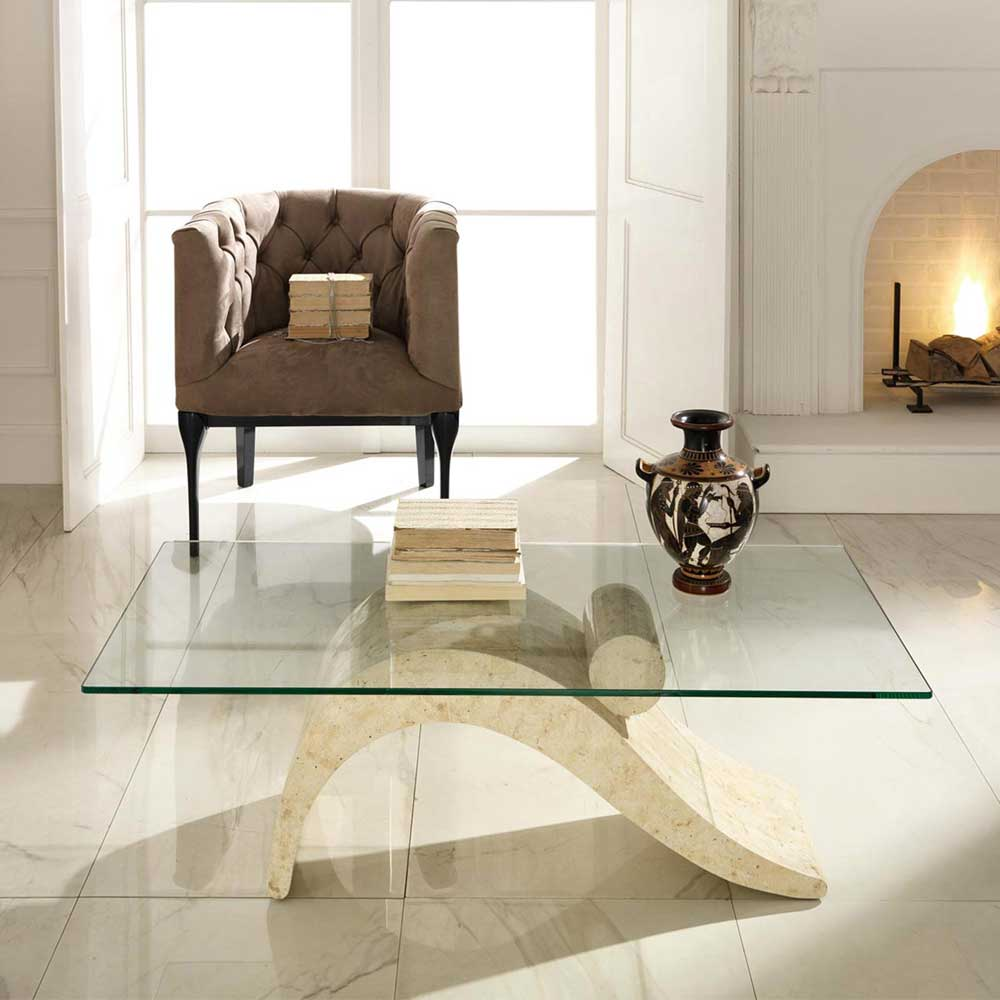 Moebel tische couchtische z b wohnzimmer couchtisch mit for Couchtisch stein glas