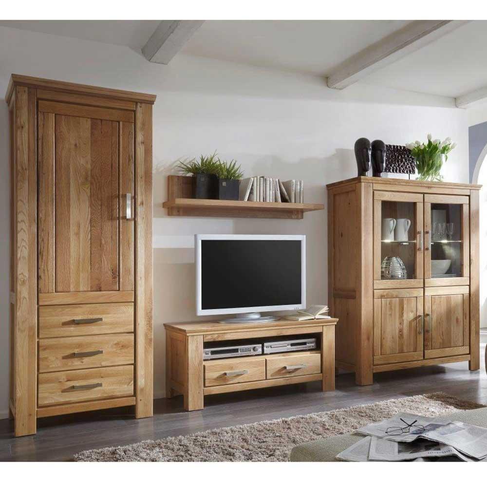 Wohnzimmer Schrankwand aus Wildeiche geölt LED Beleuchtung (4 teilig)