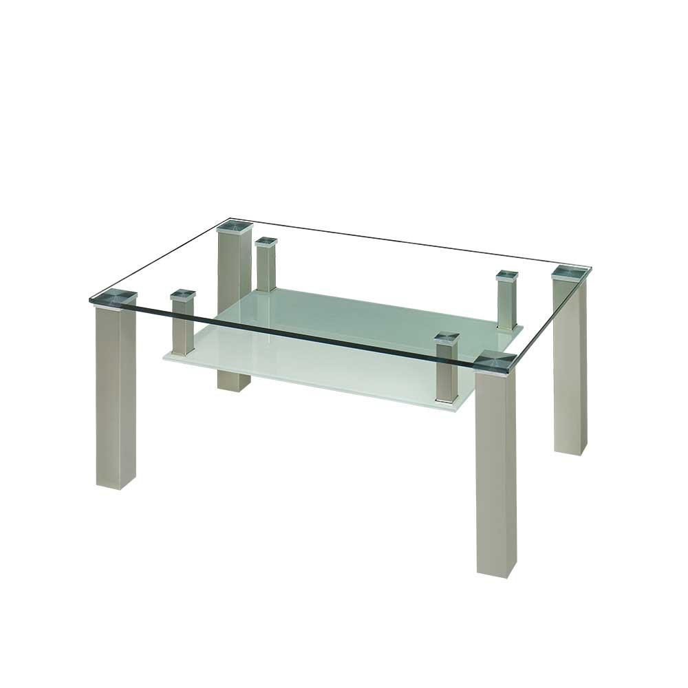 Couchtisch mit Glasplatte und Glas Ablage rollbar