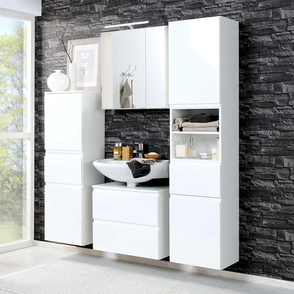Badezimmermöbel Set in Hochglanz Weiß LED Beleuchtung (4-teilig)