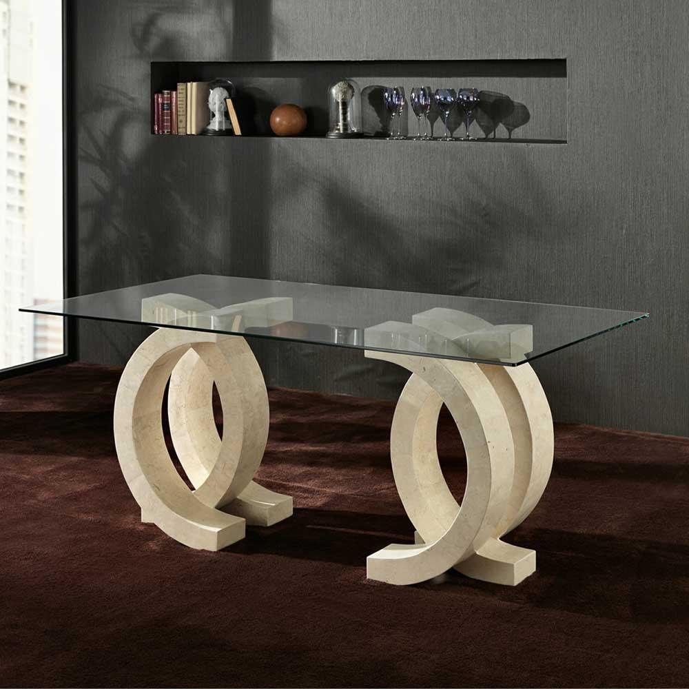 Steintisch mit Glasplatte Creme