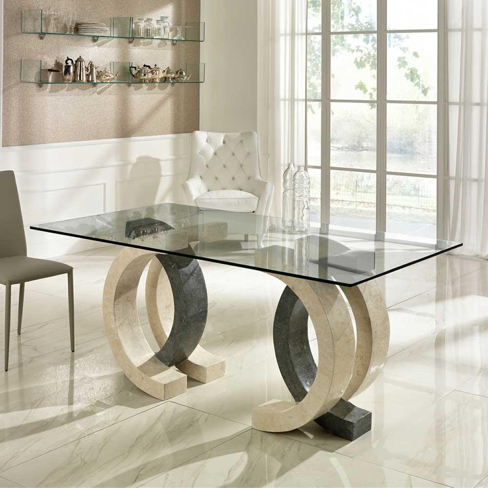 Esszimmertisch aus Stein Glas