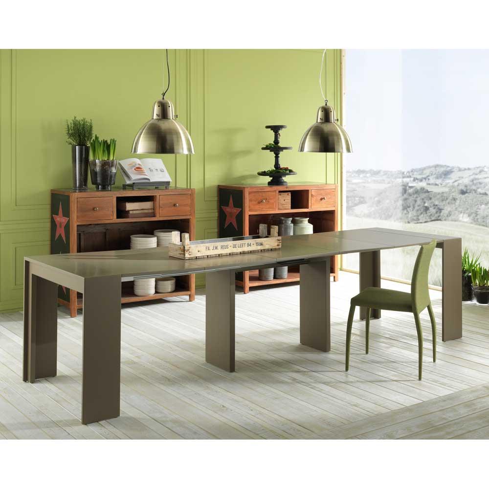 XL Esstisch in Grau Braun ausziehbar
