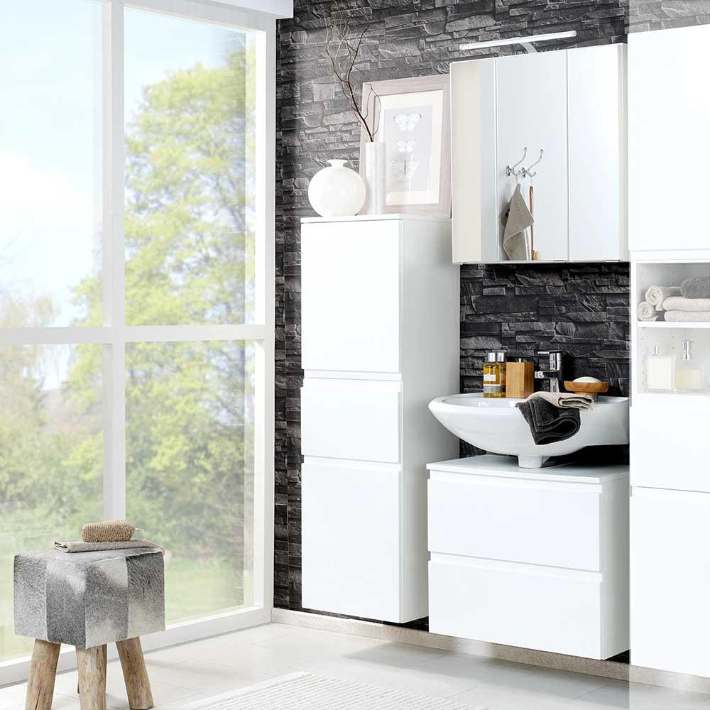 Badmöbel Set in Hochglanz Weiß 3D Spiegelschrank (dreiteilig)