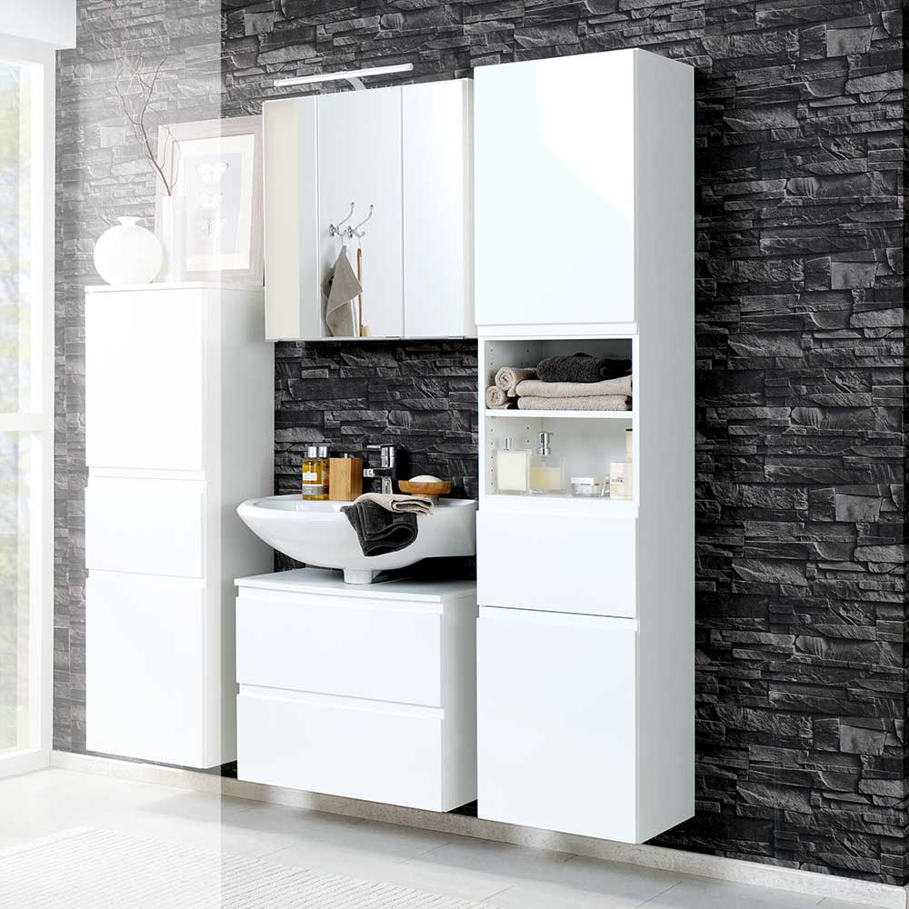 Badmöbel Komplettset in 3D Spiegelschrank Hochglanz Weiß (dreiteilig)