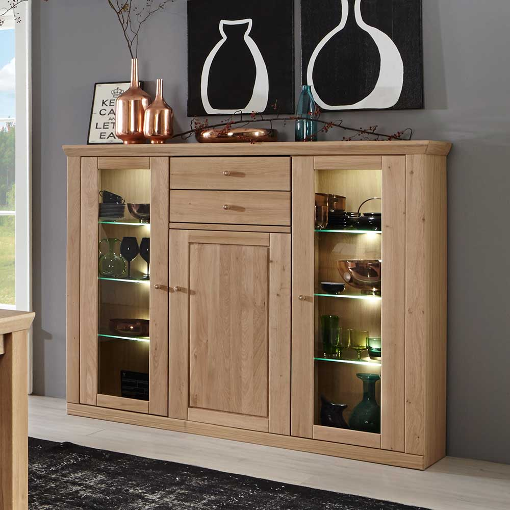 Highboard mit Glastüren Eiche Bianco
