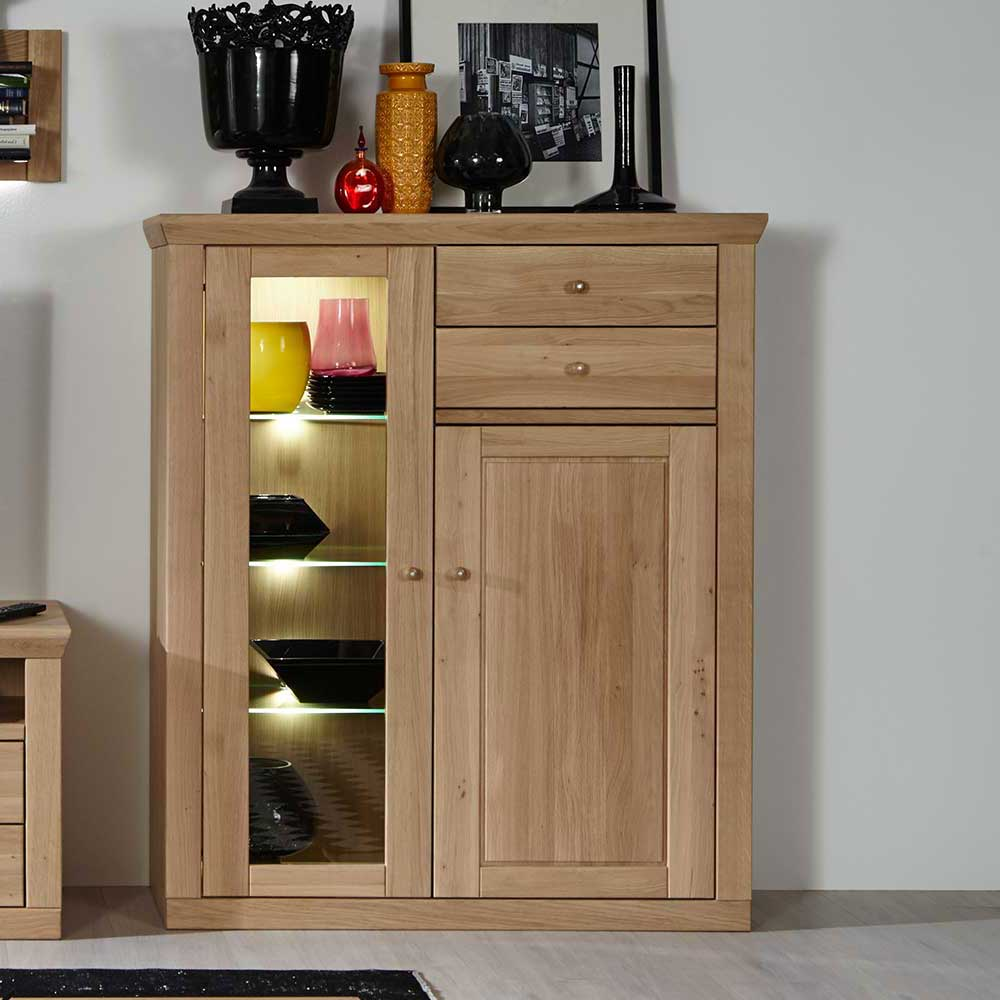 Highboard aus Eiche Bianco geölt Glastür