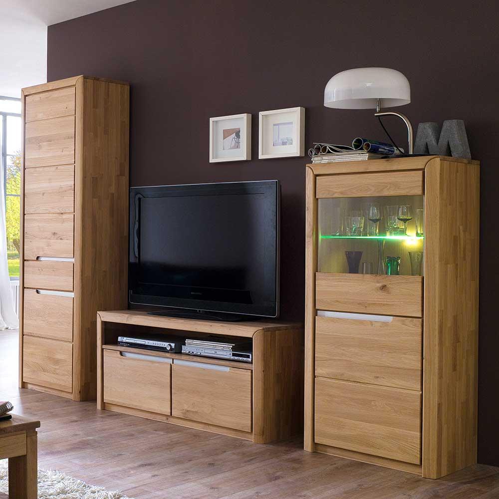 TV Anbauwand aus Wildeiche Massivholz modern (3-teilig)